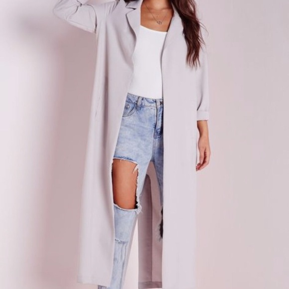 Missguided Jackets & Blazers - Grey long sleeve maxi duster jacket ✨Missguided